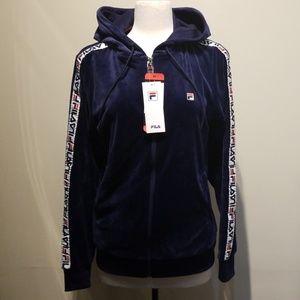 Fila Velour Track Jacket With Logo Sleeve Taping